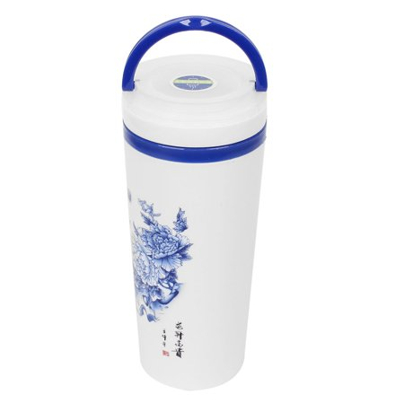 Home Office Plastic Water Container Flower Print Coffee Bottle 400ml