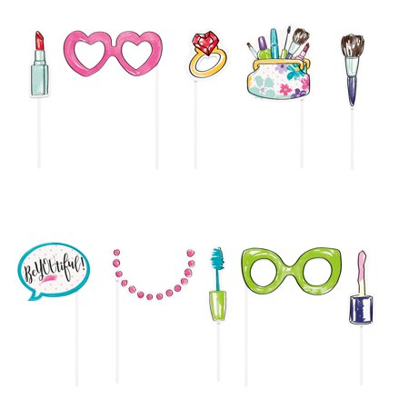 Spa Party Photo Booth Props, 10pc - Props Synonym
