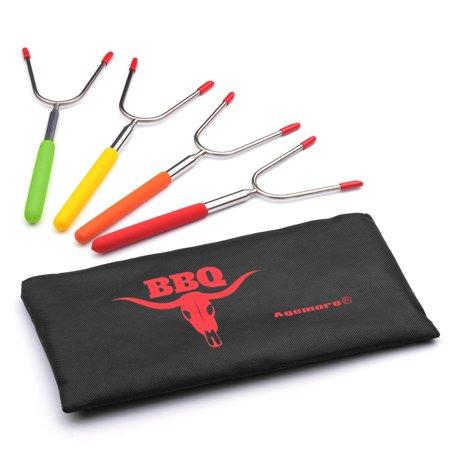 Marshmallow Roasting Sticks Set Of 4 Smores Skewers Amp Hot Dog Forkamp BBQ Forks
