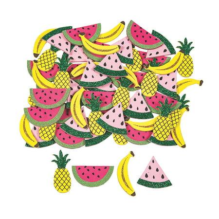 Fun Express - Glitter Summer Fruit Embellishment(72pc) for Summer - Craft Supplies - Scrapbooking Embellishments - Stickers - Summer - 72 Pieces](Crafts For Summer)