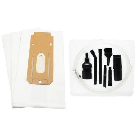 Cc Djs Kit - 3 Replacement Oreck XL3600HH Vacuum Bags with 7-Piece Micro Vacuum Attachment Kit - Compatible Oreck CCPK8DW, Type CC Vacuum Bags