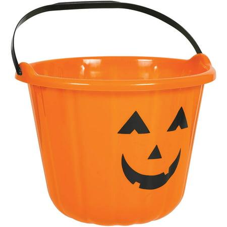 Plastic Orange Pumpkin Bucket (Each)](Halloween Bucket Crafts)