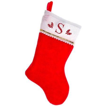 Monogrammed Christmas Stocking, Red Felt with Gold Trim with Red Serif Glitter Initial