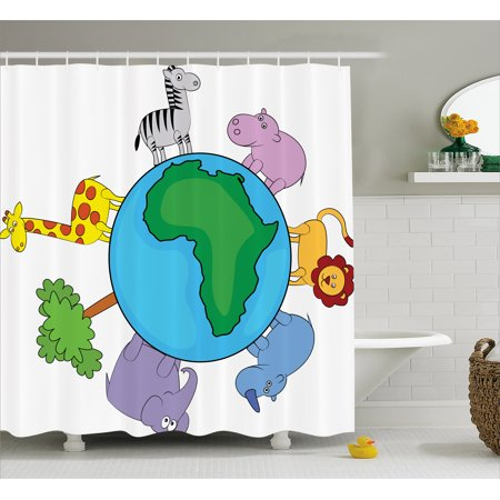 Zoo Shower Curtain, World Icon Africa Continent Cute Cartoon Animals Lion Giraffe Zebra Hippo Elephant, Fabric Bathroom Set with Hooks, 69W X 70L Inches, Multicolor, by (Hippo Fabric)