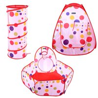 EECOO Portable Kids Indoor Outdoor Play Tent Crawl Tunnel Set 3 in 1 Ball Pit Tent