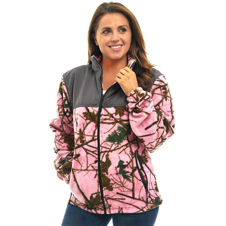 - WOMEN'S PINK CAMO SOFT FLEECE FULL ZIP WINDPROOF TRACK SWEATER JACKET W/ GRAY ACCENT,