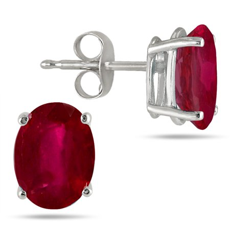 7x5MM All Natural Oval Ruby Stud Earrings in .925 Sterling -