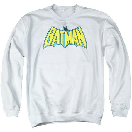 Classic Adult Comics (DC Comics Batman Classic Distressed Retro Comic Logo Adult Crewneck)