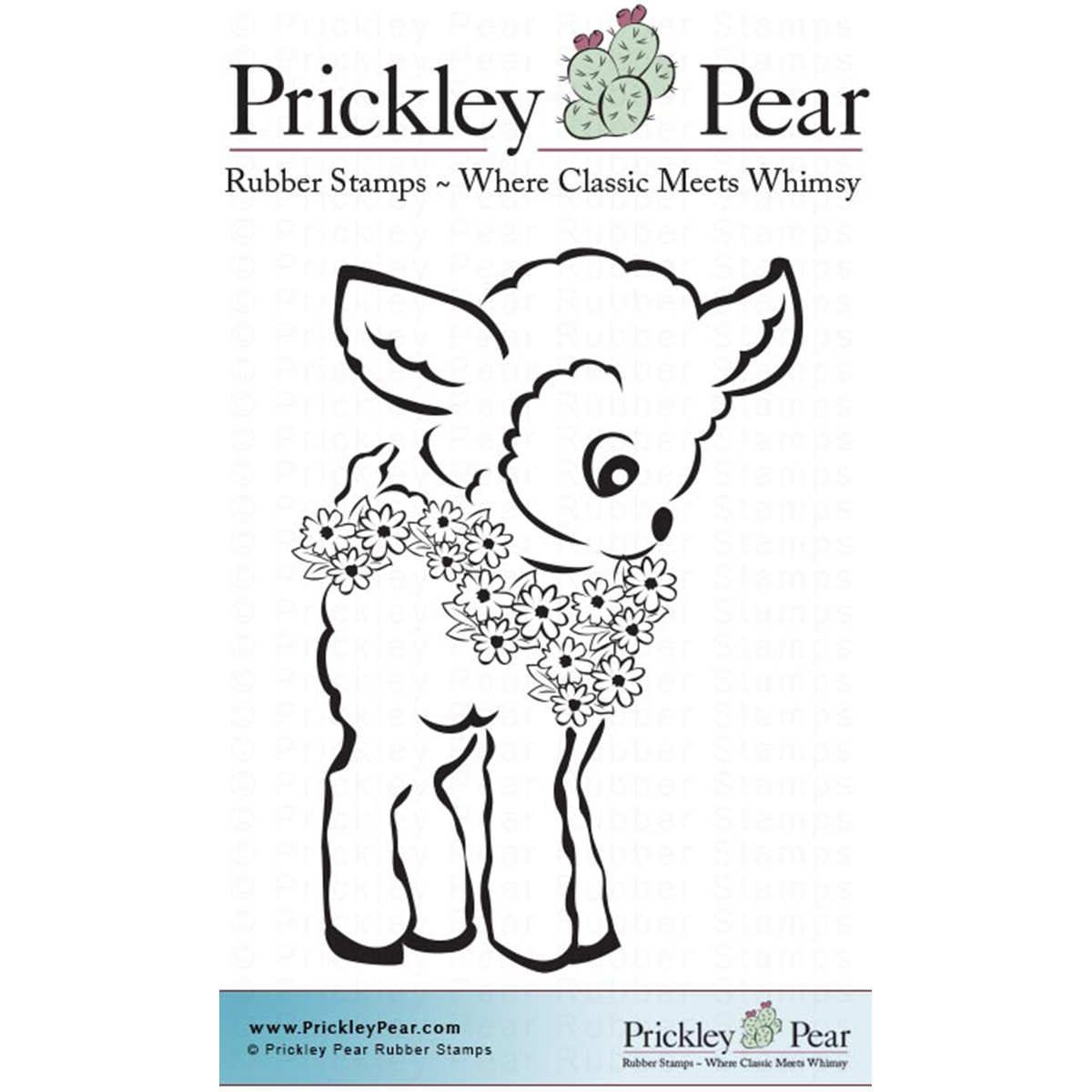 "Prickley Pear EE0132  Cling Stamps 1.25""X2""-Lamb With Flowers"