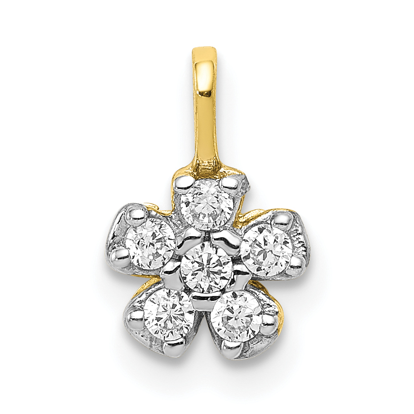 10k Yellow Gold CZ Heart /& Flower Pendant