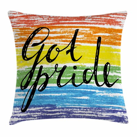 - Pride Decorations Throw Pillow Cushion Cover, Got Pride Sketchy Handwriting Grunge Crayon Paint International Event, Decorative Square Accent Pillow Case, 18 X 18 Inches, Multicolor, by Ambesonne