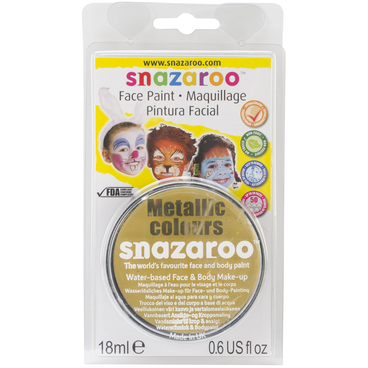 Reeves Snazaroo Face Paint, 18ml, Gold Multi-Colored