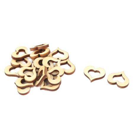 Wooden Love Heart Shaped Hollow Design DIY Accessories Beige 20 x 15mm