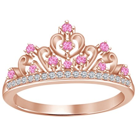 (Round Cut Simulated Multi Stone Aurora Princess Style Engagement Wedding Crown Ring In 14k Rose Gold Over Sterling Silver With Ring Size 4)