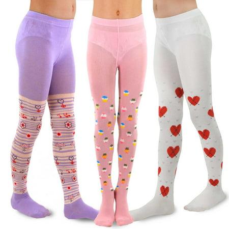 TeeHee Kids Girls Fashion Cotton Tights 3 Pair Pack (18-24 Months, Ice Cream)