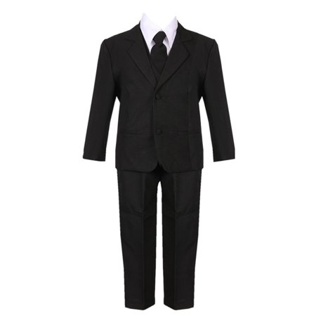 Little Boys Black 5 Piece Classic Vest Jacket Pants Special Occasion Suit