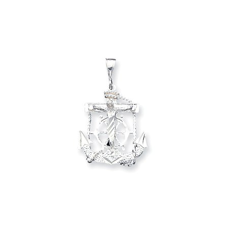 925 Sterling Silver Mariner Anchor Cross Charm Pendant - 38mm