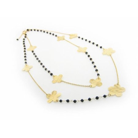 Signature Double Strand Hammered Flowers & Onyx Necklace, 18 in.