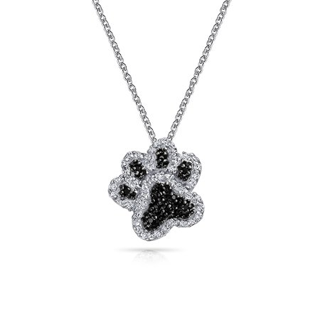 Puppy Necklace (Dog Cat Puppy Kitten Paw Print BFF Pet Pendant Necklace For Women Teen Black White Pave Cubic Zirconia Sterling)