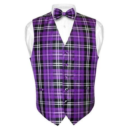 Men's Plaid Design Dress Vest & BOWTie Purple Black White BOW Tie Set (Bow Tie With A Vest)