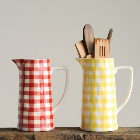 3R Studios Red Gingham Stoneware Pitcher