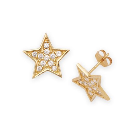 14k Yellow Gold Cubic Zirconia Big Star Fancy Post Earrings - Measures 12x12mm
