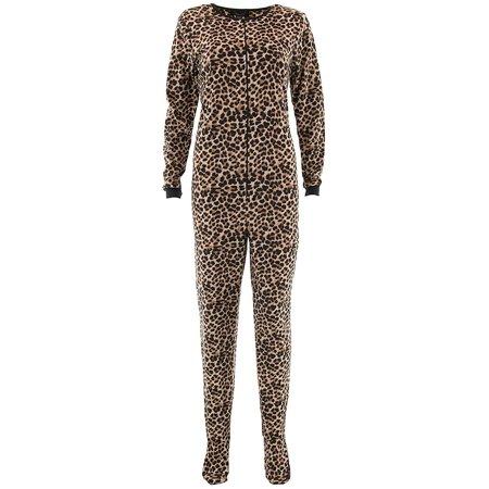 Rene Rofe Women's Leopard Beige Fleece Footed - Onesies For Adults Walmart