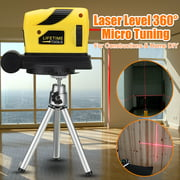 4 In 1 Multifunction 360° Rotary Laser Level Self-Levelling 2 Cross Line Infrared Vertical Horizontal Measure Tool Micro Tuning Professional Automatic for Home Improvement Projects
