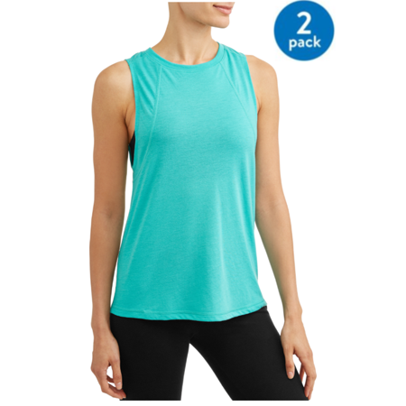 Womens Active Solid Back Detail 2 Pack Bundle Tank