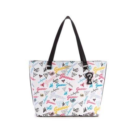 Guess Staffell Graffiti Carryall Tote Handbag Guess Handbag Pearl