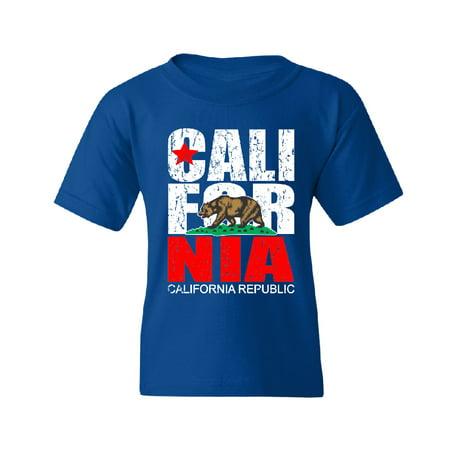 Vintage California Republic Youth T-shirt Tee Royal Blue YOUTH (Lf Clothing)