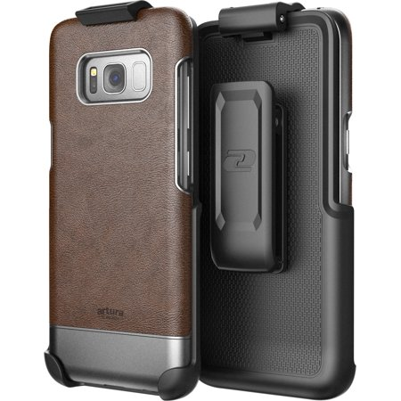Galaxy S8 Vegan Leather Belt Clip Case w/ Holster - Artura Collection by Encased (Samsung S8) (Mahogany Brown) ()