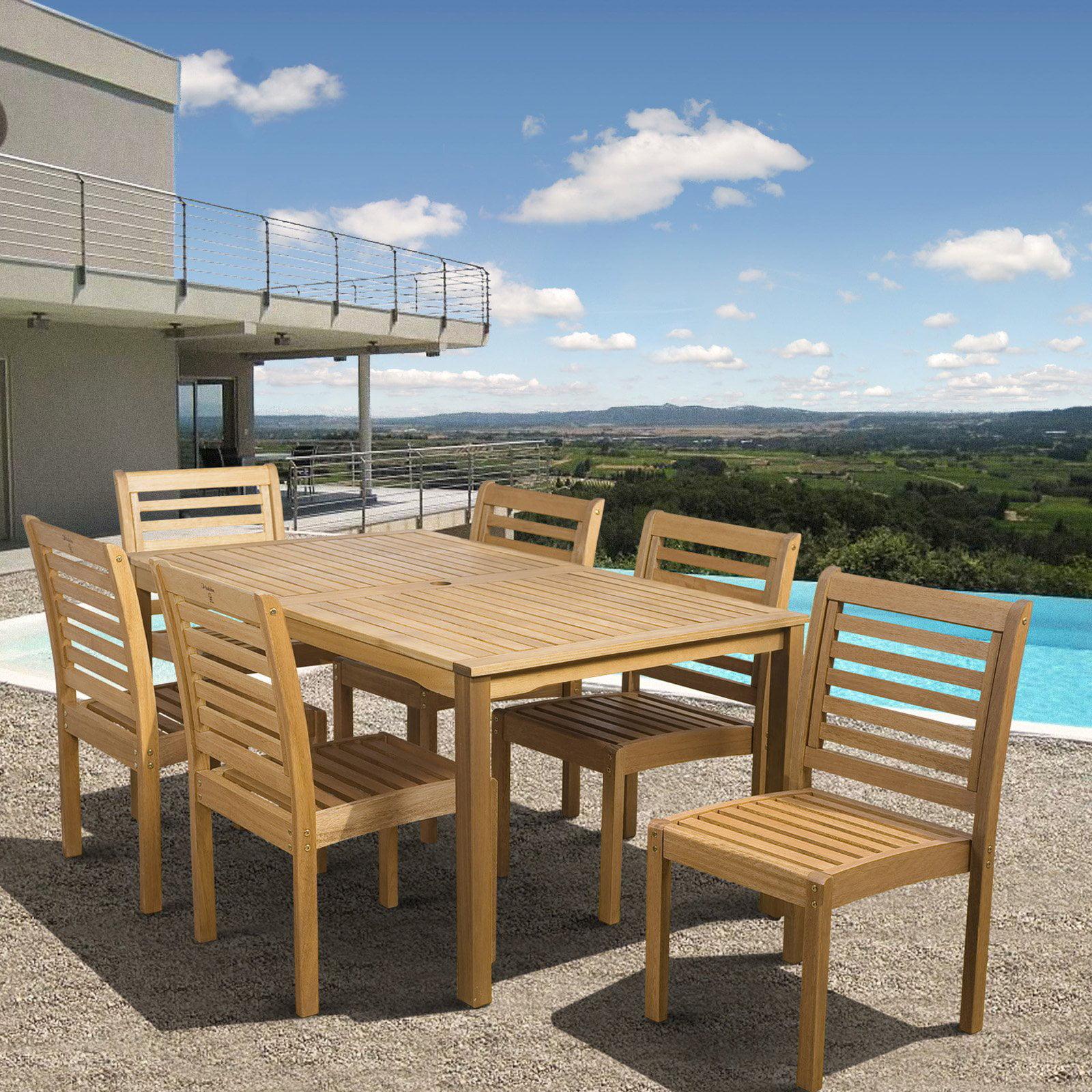 Amazonia Milano Eucalyptus Rectangle Patio Dining Set - Seats 6