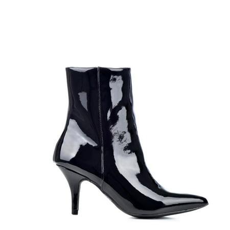 3d782aacb3f Qupid Portia-05 Pointed Toe Black Kitten Heel Booties