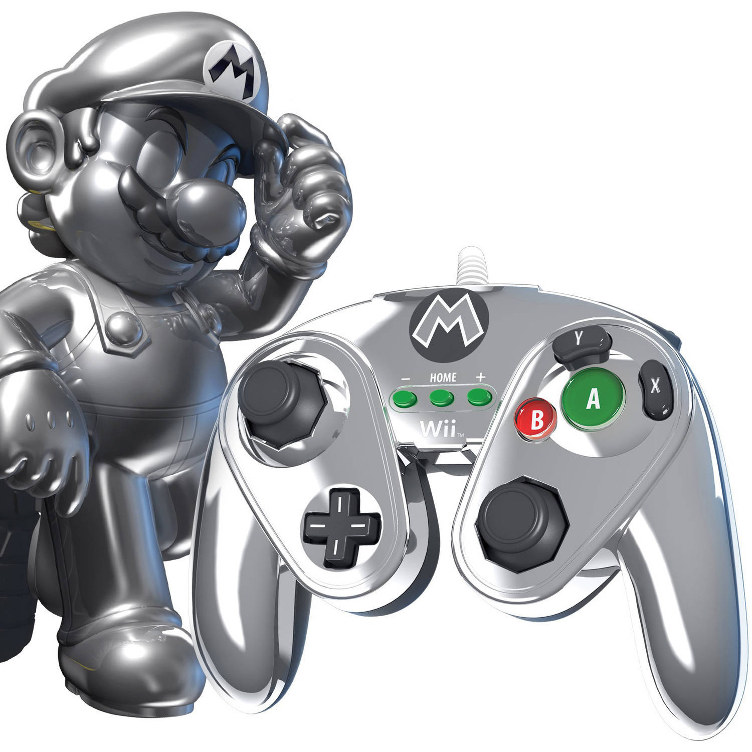 PDP Wired Fight Pad for Wii U, Metal Mario