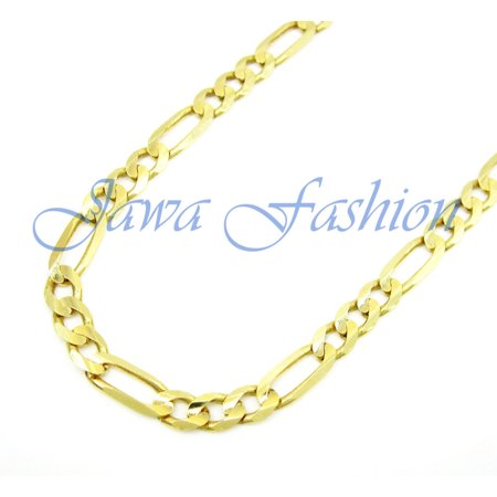 10K Yellow Gold Men Womens 10.5MM Hollow Figaro Chain Necklace Lobster Clasp, 20 to 28 Inches (32)