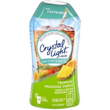 (3 Pack) Crystal Light with Caffeine Tropical Paradise Punch Liquid Drink Mix, 1.62 fl oz Bottle
