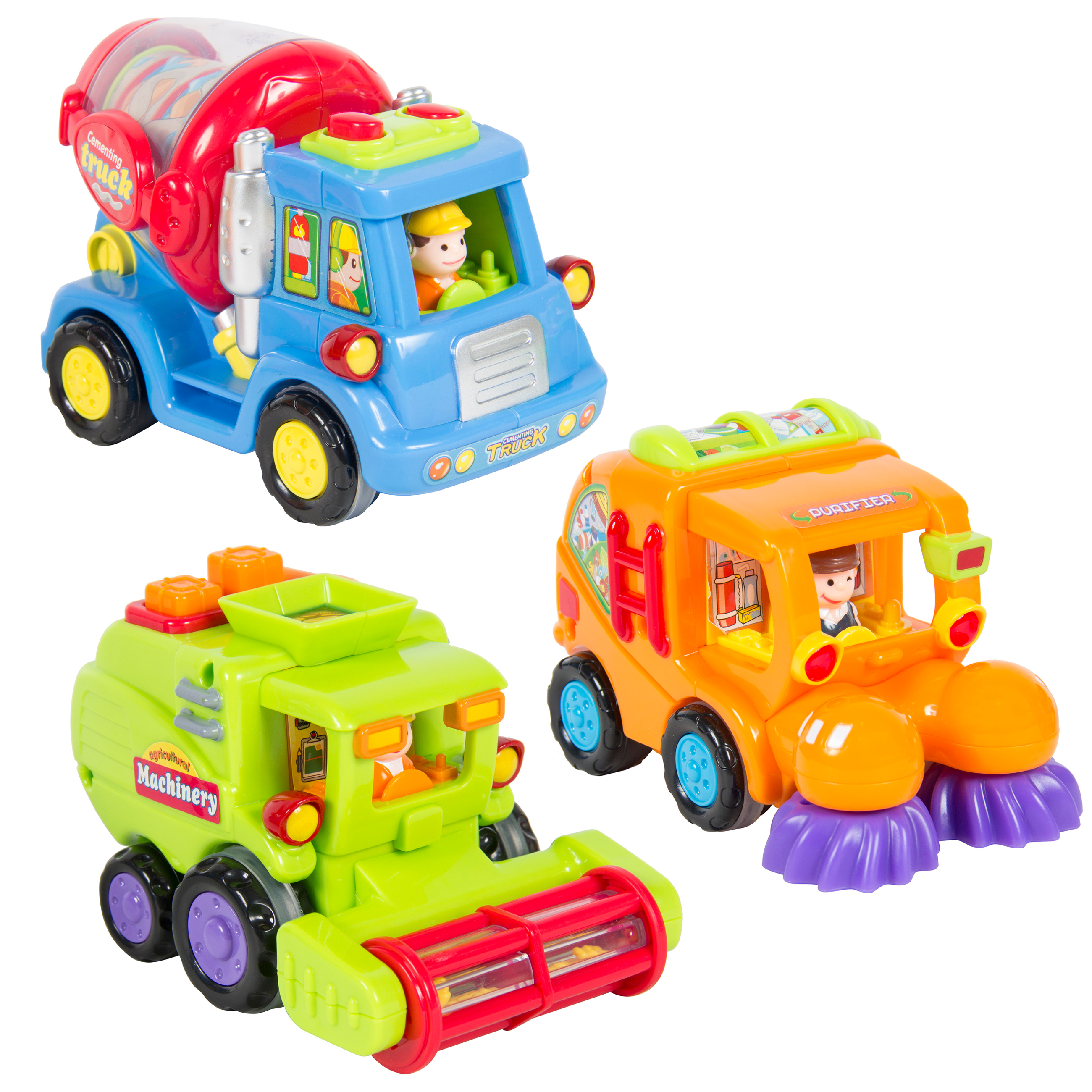 Best Choice Products Set of 3 Kids Push-and-Go Friction Powered Car Toys for Motor Skills, Hand-Eye Coordination, Imaginative Fun w/ Street Sweeper, Cement Truck, Harvest Truck - Multicolor