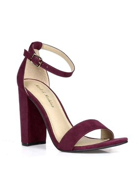 4ec058558185 Product Image Purple Vegan Suede Ankle Strap Open Toe Chunky Heel Women s  Shoes - 7.5. Fourever Funky