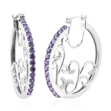 Round Cubic Zircon CZ Pink Hoops Hoop Earrings for Women Hypoallergenic Cttw 3.1 Jewelry Gift ()