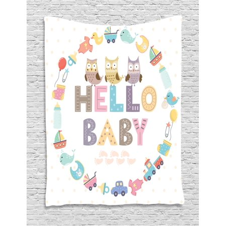 Baby Shower Tapestry, Hello Baby Quote with Kids Elements and Funny Owl Birds Welcome Newborn Party, Wall Hanging for Bedroom Living Room Dorm Decor, 40W X 60L Inches, Multicolor, by - Welcome Tapestry
