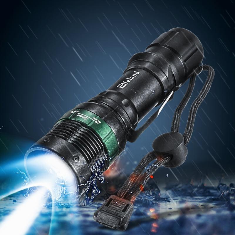 Elfeland 2200 Lumen Portable Zoom T6 LED Flashlight Torch Lamp Light Zoomable Streamlight + AAA Battery Holder + 18650 Plastic Tube