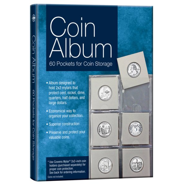 Coin Collection Album Coin Holders Storage Supplies Blue 60 Pockets High Quality