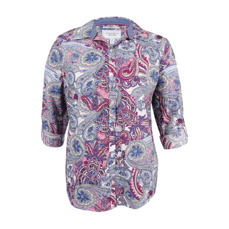 Women's Plus Size Paisley-Print Shirt (16W, Whipped Berry Combo)