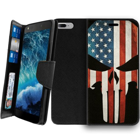 Wallet Case for Apple iPhone 7 Plus, iPhone 7 Plus Case, iPhone 7 Plus Cover [CLIP FOLIO for iPhone 7 +] Wallet Case w/Kickstand Function, Multi-Card Slot - American Flag Skull ()