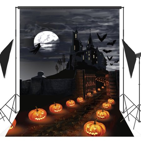 MOHome Polyster 5x7ft Halloween Pumpkin Horror Nights Moon Mysterious Castle Costume Party Masquerade Series Photo Backdrops Studio Background Studio Props
