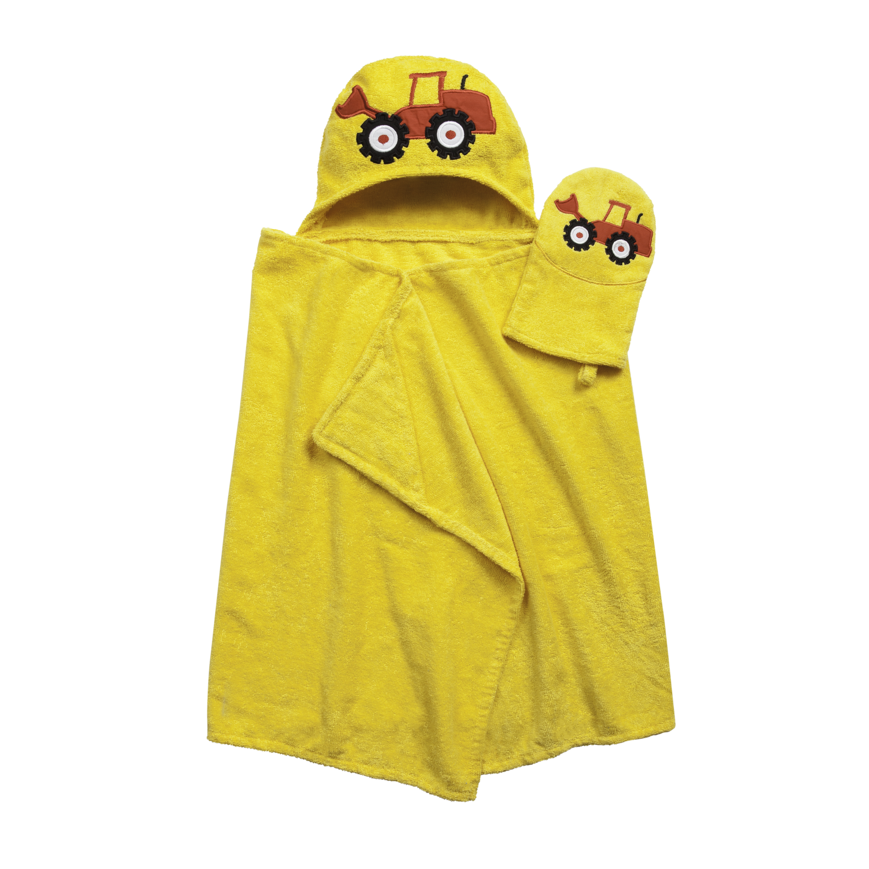 Tub Time Tots Tractor Hooded Kids Bath Wrap with Mitt - 2 Piece Set