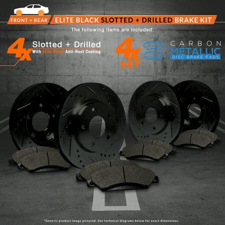 Max Brakes Front & Rear Elite Brake Kit [ E-Coated Slotted Drilled Rotors + Metallic Pads ] TA037883 | Fits: 2009 09 Nissan Pathfinder V6 Models w/ 11.65'' Front Rotor Dia - image 4 de 8