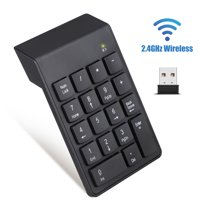 Wireless Number Keyboard, TSV Portable Wireless USB 2.4GHz Numeric Keypad with 18 Sensitive Keys, Compact Number Keyboard Extensions for Data Entry in Excel for Laptop, PC, Desktop, Notebook (Black)