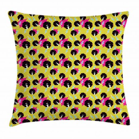 Disco Party Throw Pillow Cushion Cover, Retro 80s Theme Girls with Black Curly Afro Hair and Polka Dots Funky Pop Art, Decorative Square Accent Pillow Case, 18 X 18 Inches, Multicolor, by Ambesonne